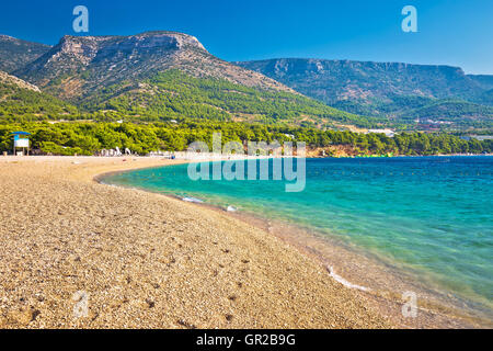 Zlatni Rat turquoise beach in Bol on Brac island, Dalmatia, Croatia - Stock Photo