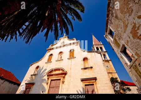 Historic church in Milna on Brac island, Dalmatia, Croatia - Stock Photo