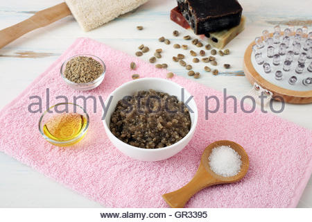 Alternative skin care and homemade scrubs with natural ingredients sage sea salt and coffee - Stock Photo
