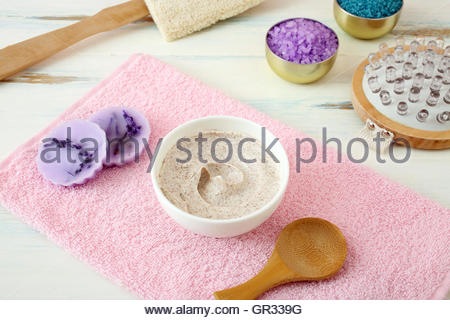 Alternative skin care and homemade scrubs with natural ingredients - Stock Photo