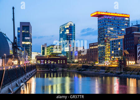 The Media port, Düsseldorf, Germany, inland port of river Rhine, modern architecture in an old harbor area, - Stock Photo