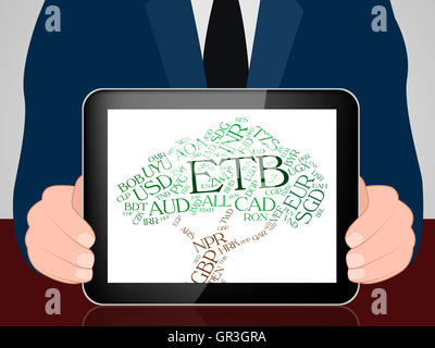 Etb Currency Meaning Ethiopian Birrs And Text - Stock Photo