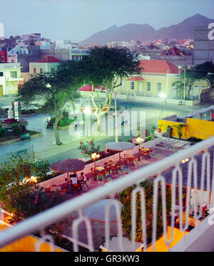 The view from the balcony of room #216 at the Hotel Porto Grande, Mindelo, Sao Vincente. - Stock Photo