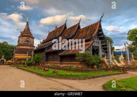 Wat Lok Molee at sunset, one of the oldest temples in Chiang Mai, Thailand - Stock Photo