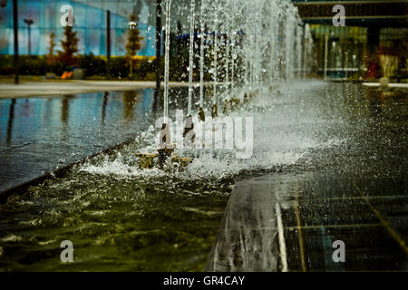 water jets, office building source, detail - Stock Photo