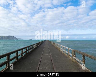 Tolaga Bay Wharf  the longest pier of New Zealand - Stock Photo
