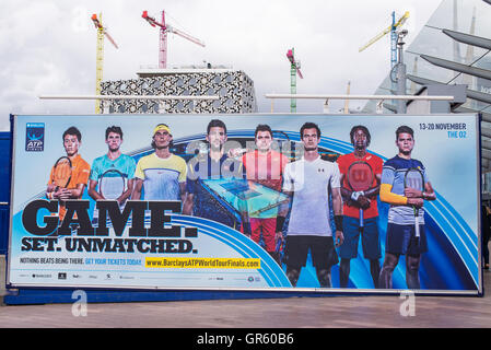 Giant billboard promoting the Barclays ATP World Tour Finals 2016 which will be held in London 13-20 November 2016. - Stock Photo