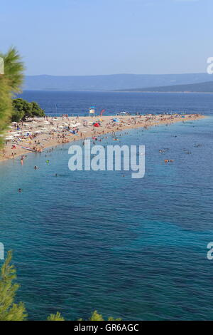 Beach, Golden Horn, Bol, Island Brac, Dalmatia, Croatia, Europe - Stock Photo