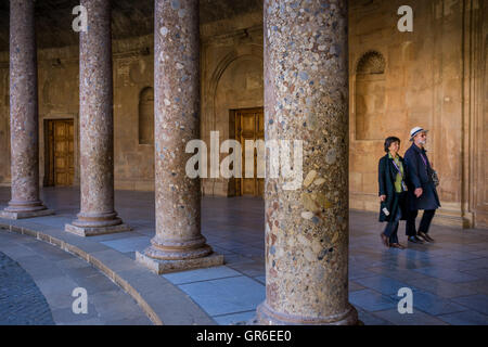Granada, Spain - March 24, 2008 - Courtyard of the Palacio de Carlos V in La Alhambra of Granada, Andalusia province, - Stock Photo