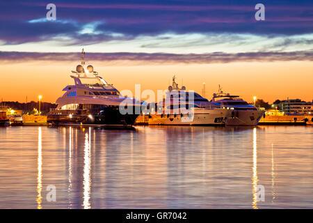 Luxury yachts harbor at golden hour view, Zadar, Croatia, Dalmatia - Stock Photo