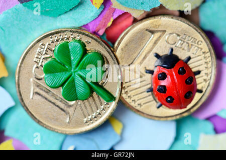 Lucky Charm On Euro Cent Coins, New Year S Eve - Stock Photo