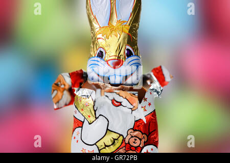 Chocolate Easter Bunny And Santa Claus - Stock Photo