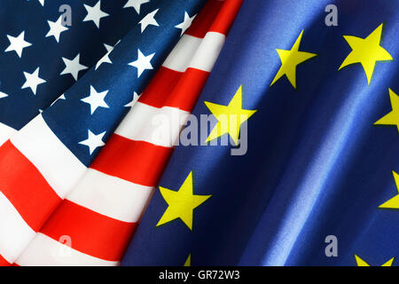 Flags Of The Usa And The Eu, Ttip - Stock Photo