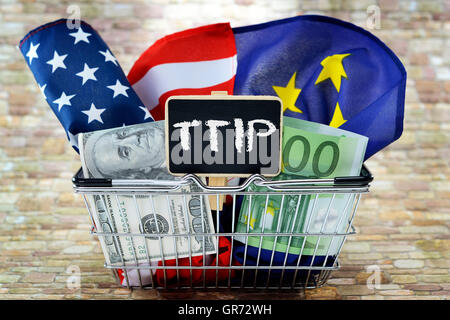 Flags Of The Usa And European Union In A Shopping Basket, Ttip - Stock Photo