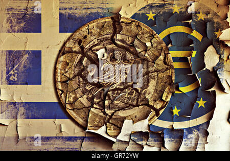 Greek Euro Coin And Ecb Sign On A Grungy Wall, Greek Debt Crisis - Stock Photo