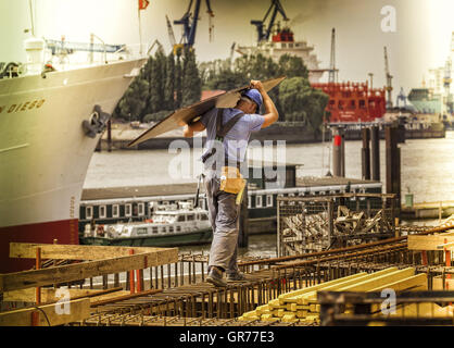 Workers In The Port Of Hamburg - Stock Photo