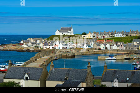 Fishing Village Findochty At The Moray Firth, Scotland, Uk - Stock Photo