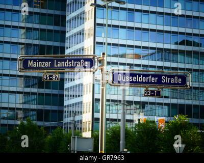 Street sign European financial city Frankfurt am Main Germany Europe - Stock Photo
