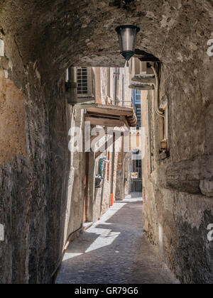 Homes in Iseo Village at lake Iseo in Italy - Stock Photo