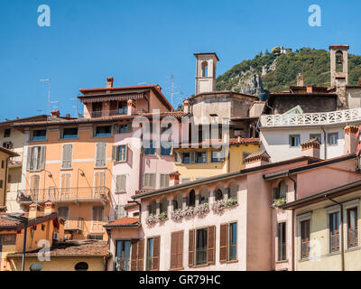 City of Lovere at lake Iseo in Italy - Stock Photo