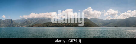 Isola Monte in lake Iseo in Italy - Stock Photo