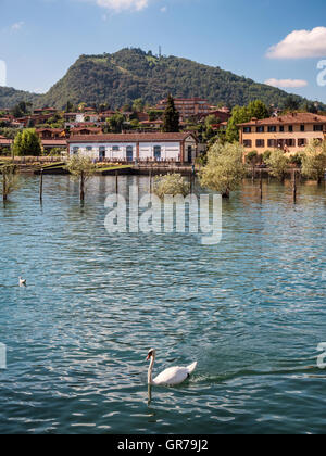 Sarnico village at the lakeside of lake Iseo in Italy - Stock Photo