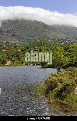 Lac De Padula Padula Lake Near The Mountain Village Oletta In The Nebbio Region, Northern Corsica, France, Europe - Stock Photo