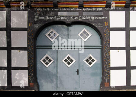 Nice Door Of An Old Half-Timbered House In Bad Essen, Osnabrück Country, Lower Saxony - Stock Photo