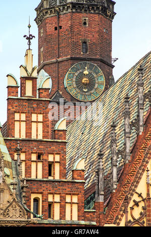 Architecture of the Market square in Wroclaw, Poland. Wroclaw is the historical capital of Silesia and Lower Silesia - Stock Photo