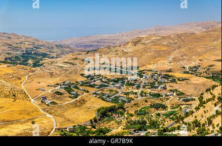 Jordanian landscape as seen from Al-Karak - Stock Photo
