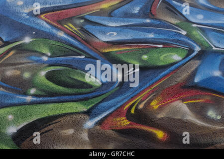 Colorful Graffiti Paintings On A Wall - Stock Photo