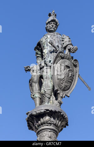 Detail Of The Town Hall Fountain In Kempten - Stock Photo