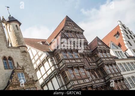 The Old City Of Hildesheim In Lower Saxony Is Characterized By Its Historic Buildings - Stock Photo