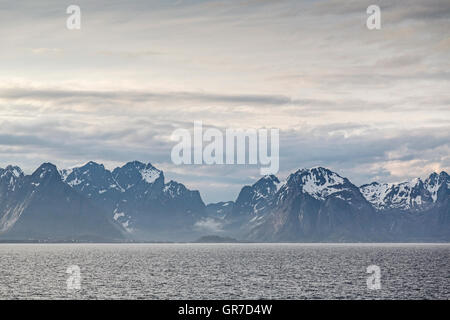 View Of The Lofoten Wall From The Car Ferry To Bodo - Stock Photo
