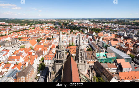 ULM, GERMANY - AUGUST 13: View over the city of Ulm, Germany on August 13, 2016. - Stock Photo
