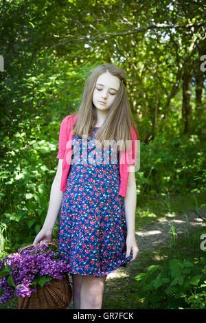Pretty teen girl girls tight mini skirt Stock Photo