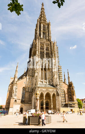 ULM, GERMANY - AUGUST 13: Tourists at the Minster of Ulm, Germany on August 13, 2016. - Stock Photo