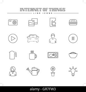 Internet of things and smart home, line icons set - Stock Photo