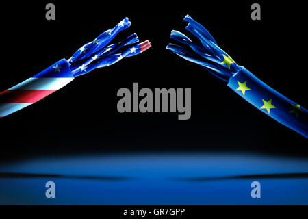 Torn Data Cable And Flags Of The Usa And The Eu, Safe Harbor Statement - Stock Photo