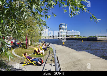 Grasbrook Harbor And Marco Polo Residence Tower In Hamburg, Germany - Stock Photo