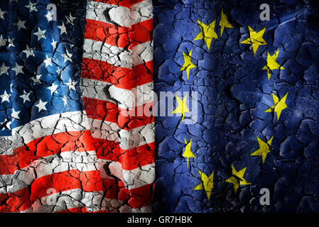Flags Of The Usa And The Eu On Cracked Ground, Ttip Trade Agreement - Stock Photo