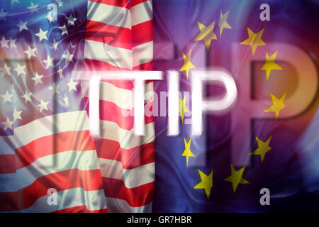 Flags Of The Usa And The Eu, Ttip Trade Agreement - Stock Photo