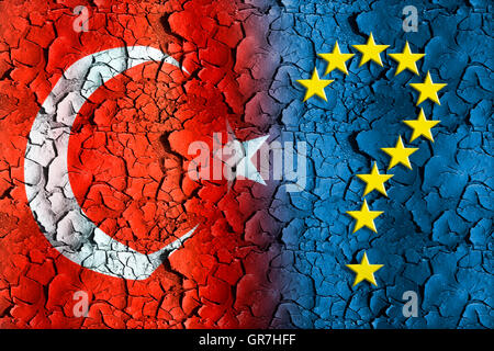 Flags Of Turkey And The Eu, Stars Forming A Question Mark - Stock Photo