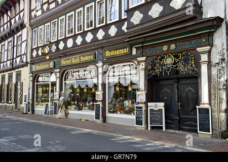 Baroque Restaurant And Café Anders In A Half-Timbered House, Goslar, Harz - Stock Photo