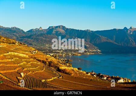 Autumn In The Riviera Vaudoise Near Vevey At Lake Geneva, Vaud, Switzerland - Stock Photo