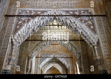 Moorish Arabesque Decoration, Palacios Nazaries, Alhambra, Granada, Spain - Stock Photo