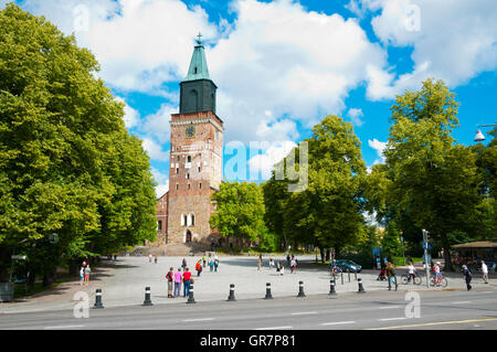 Tuomiokirkkotori, cathedral square, Turku, Finland - Stock Photo