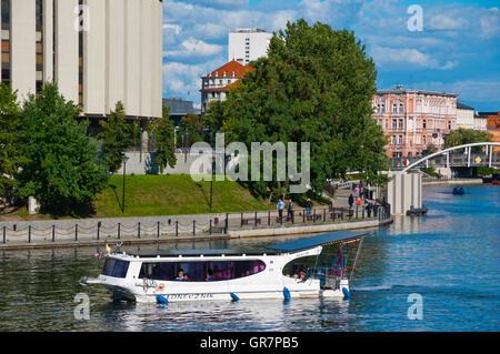 Water taxi, River Brda, Bydgoszcz, Pomerania, Poland - Stock Photo