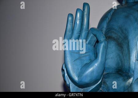 Hand Of The Blue Buddha Stock Photo 93652949 Alamy