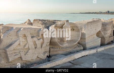 SAN BENEDETTO DEL TRONTO, ITALY - AUGUST 29, 2016: sculpture on the south pier by the Art museum of the sea of San - Stock Photo